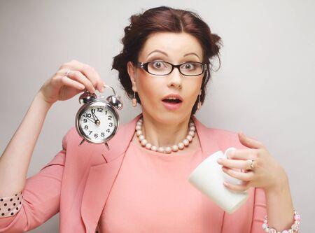 coffeebreak: Young funny businesswoman having a coffee-break
