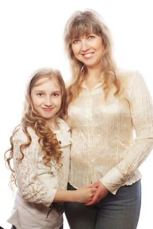 casual clothing 12 year old: mother and daughter, happy family, isolated on white