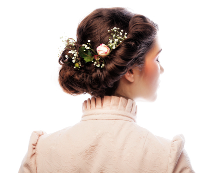haircut: back view of beautiful haircut with small pink flowers