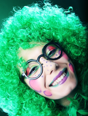 kissing mouth: crazy woman with creative visage