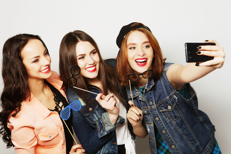 funny girls, ready for party, selfie 写真素材