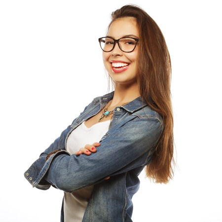 calm woman: calm and friendly young  woman with glasses