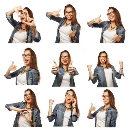 Collage of woman different facial expressions.Studio shot. Standard-Bild
