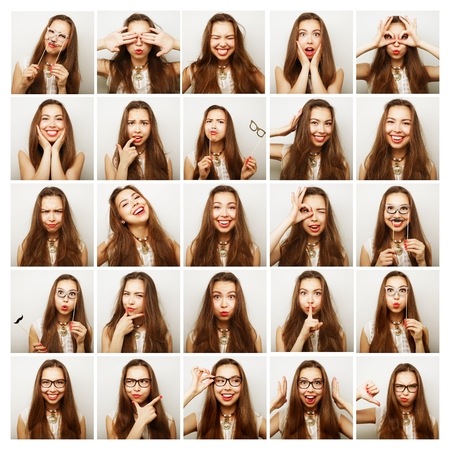 emotional: Collage of woman different facial expressions.Studio shot. Stock Photo