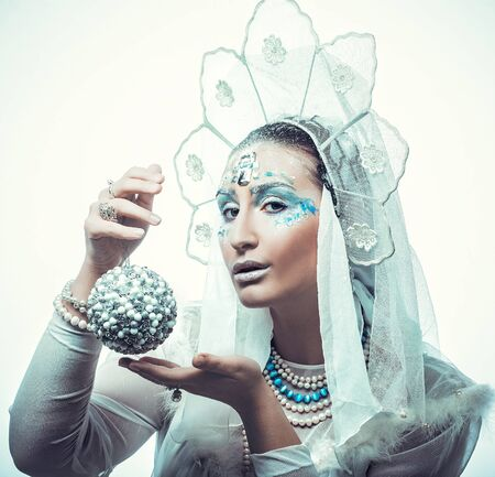 the snow queen: Snow Queen over white background.