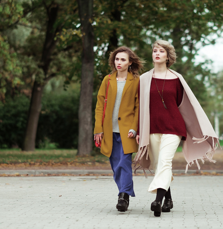 Two cheerful fashion girls  in the autumn park 免版税图像