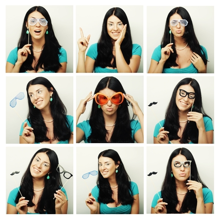 expressing: Collage of woman different facial expressions.Ready for party. Stock Photo