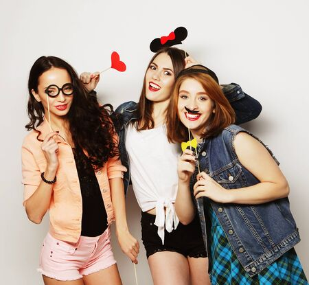 stylish sexy hipster girls best friends ready for party Stock Photo - 47426489