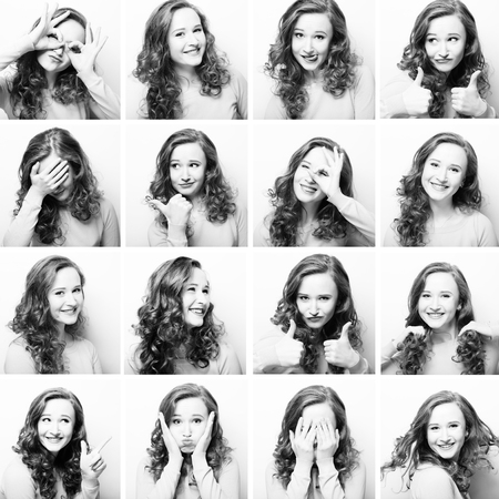 face expressions: Young woman performing various expressions with her face. Black and white picture. Stock Photo