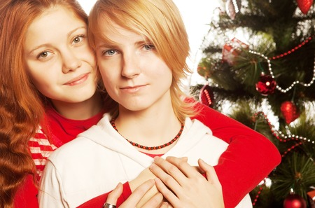 lesbian sexy: Two girl friends. Christmas holiday.