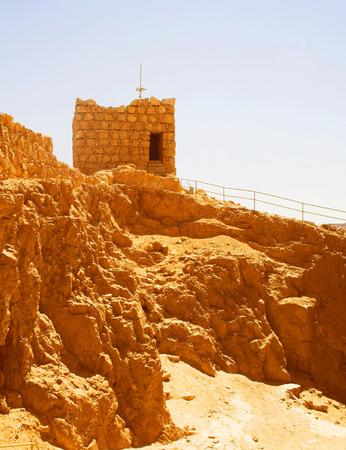 masada: Ruins at Masada with Dead Sea in background Stock Photo