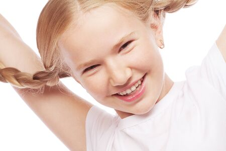 beautiful teeth: Little happy girl with big smile.Picture for dentistry.