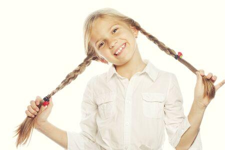 niños rubios: Niña feliz con gran smile.Picture para la odontología.