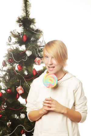 lolipop: happy woman with lolipop and tree Stock Photo