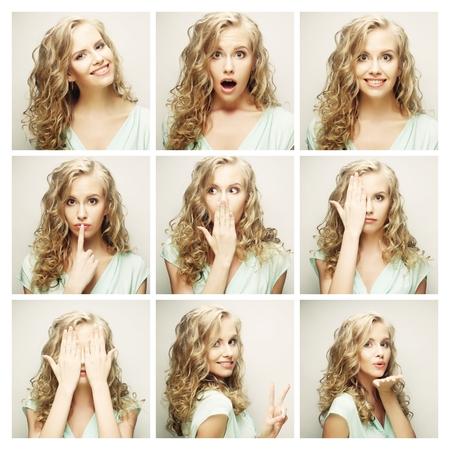 gestos de la cara: Collage de mujer diferentes expresiones faciales