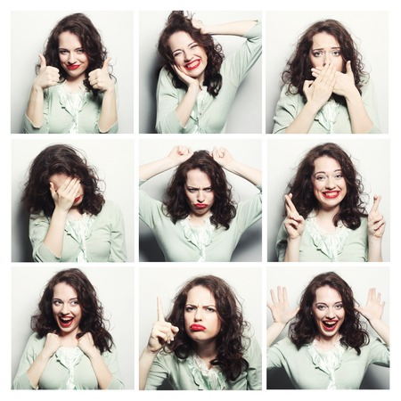 diferent: Collage of the same woman making diferent expressions