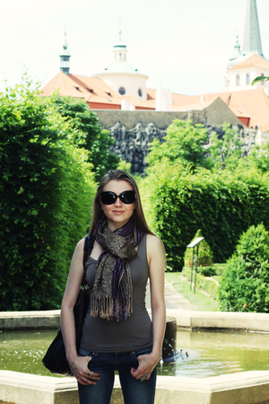 stare mesto: Young woman in Prague. Happy Travel.