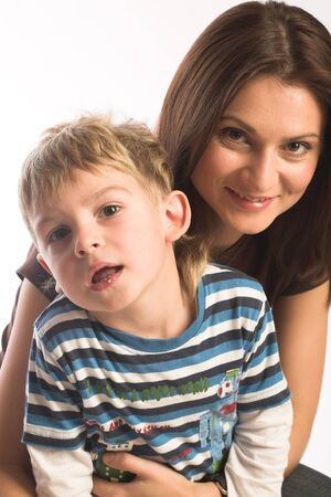 happynes: Mother together with the son, happy time Stock Photo