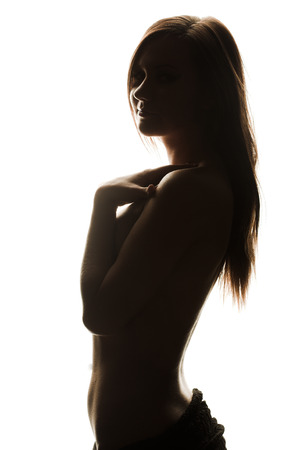 nude girl young: Outlines of nude girl. Black figure. Fashion art photo
