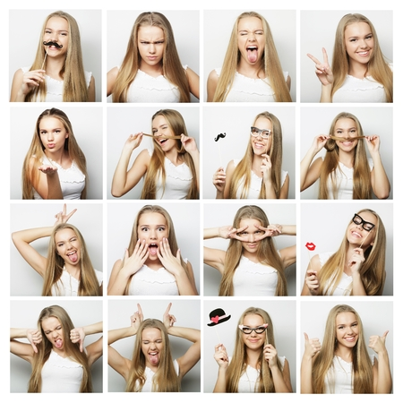 people, portrait and beauty concept - collage of woman different facial expressions Standard-Bild