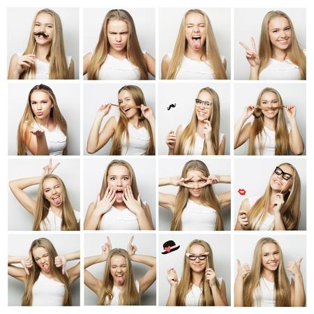 mensen, portret en beauty concept - collage van de vrouw verschillende gezichtsuitdrukkingen