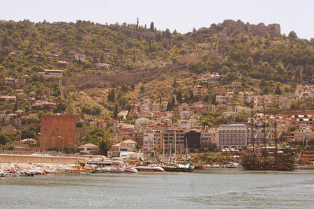 pictorial: pictorial scene with yachts near castle (Alanya - Turkey)