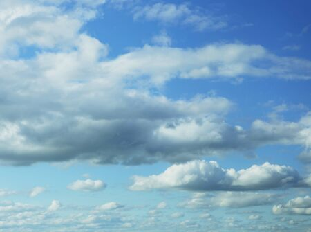 nimbi: white  clouds in the blue sky Stock Photo