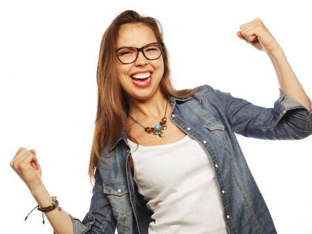 agape: Portrait of happy excited woman celebrating her success. Stock Photo