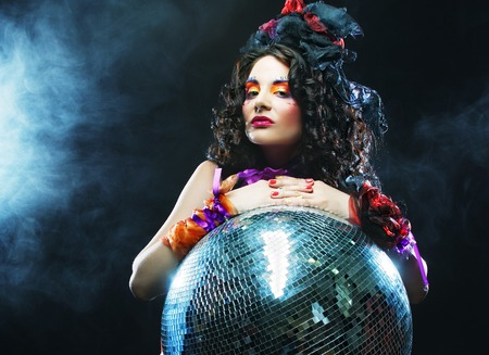 carnaval: carnaval girl with disco ball Stock Photo