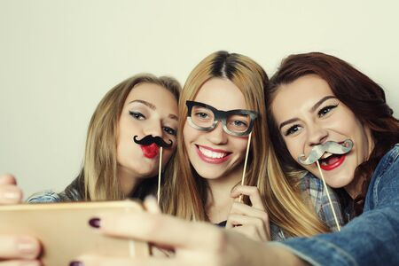 girls youth: Happy time. Stylish sexy hipster girls best friends ready for party.