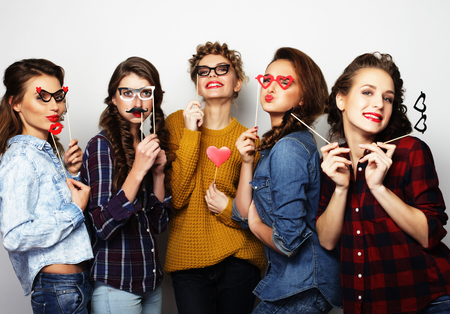 five  sexy hipster girls best friends ready for party Фото со стока