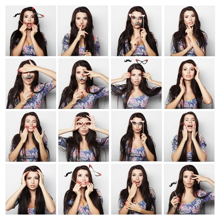 comedian: people, portrait and beauty concept - collage of woman different facial expressions Stock Photo