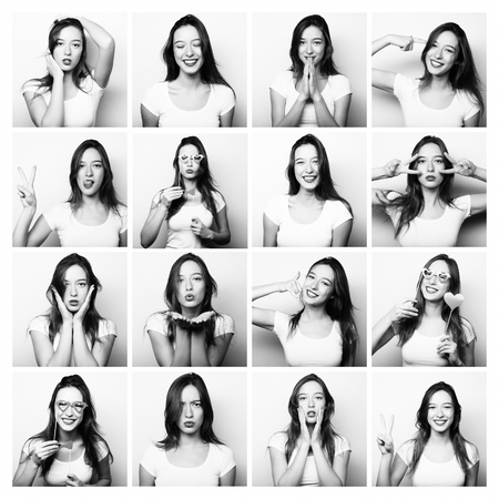 comedian: Collage of woman different facial expressions. Black and white picture.