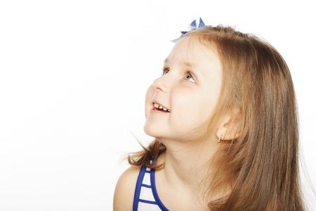 highkey: portrait of little happy girl Stock Photo