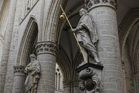 michael: Interior of St. Michael and St. Gudula Cathedral, Brussels, Belgium Stock Photo