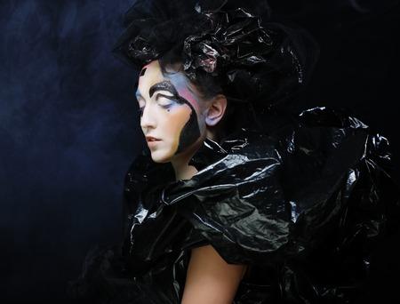 loathsome: Dark Beautiful Gothic Princess.Halloween party. Stock Photo