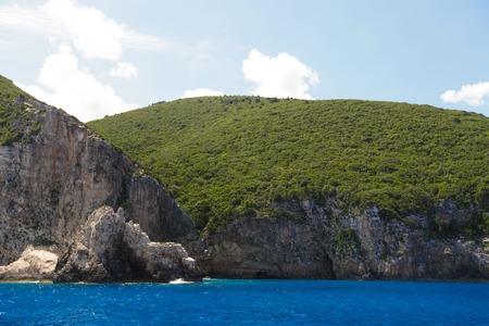 touristic: Travel and touristic concept - Blue caves on Zakynthos island, Greece