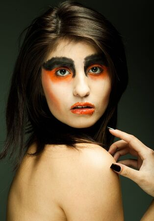 girl with gray eyes: Sadness. Portrait young woman in depression.Creative make-up.  Stock Photo