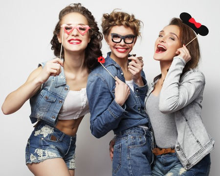 stylish sexy hipster girls best friends ready for party Banco de Imagens