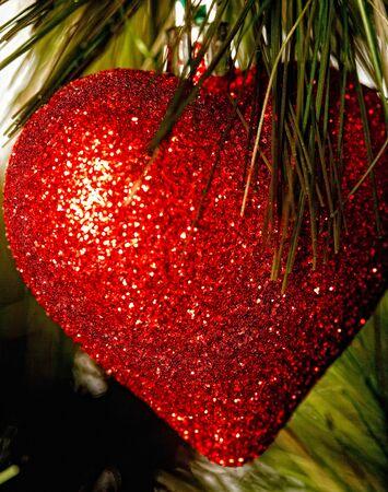 glass heart: Christmas decoration - glass heart. Studio shot.