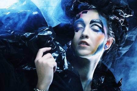 enchantress: Dark Beautiful Gothic Princess.Halloween party. Stock Photo