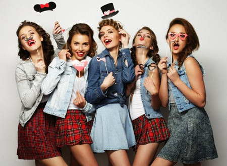 life style and people concept: stylish girls best friends ready for party photo