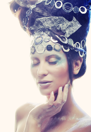 winter woman: Ice-princess.Christmas Winter Fairy woman. Stock Photo