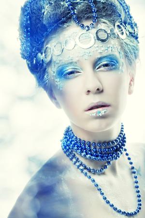 xmass: Ice-princess.Christmas Winter Fairy woman. Stock Photo