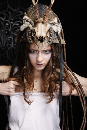 Fashion portrait of beautiful female model