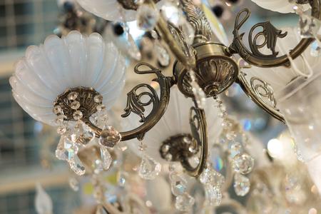 lustre: Vintage crystal lamp details, close up Stock Photo