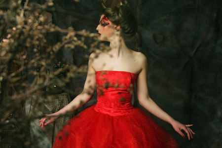 Portrait of a beautiful blond woman in red dress. Creative make up and hairstyle. Shot in a fantasy house.