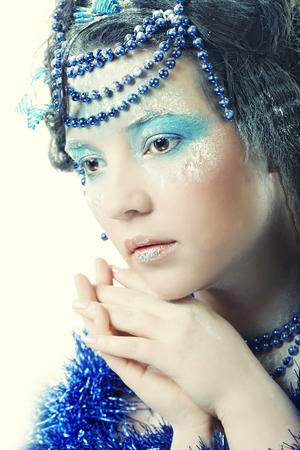 winter woman: Christmas Winter Fairy woman. Stock Photo