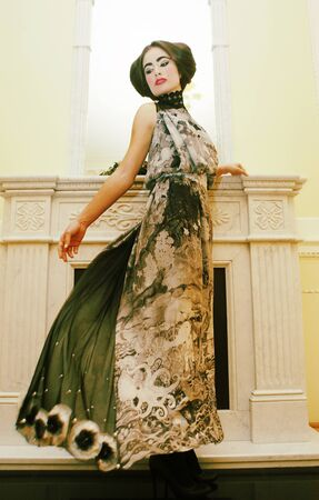voile: Beautiful woman portrait in classic interior. Stock Photo
