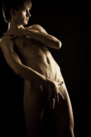 portrait of a young muscular naked man Stock Photo